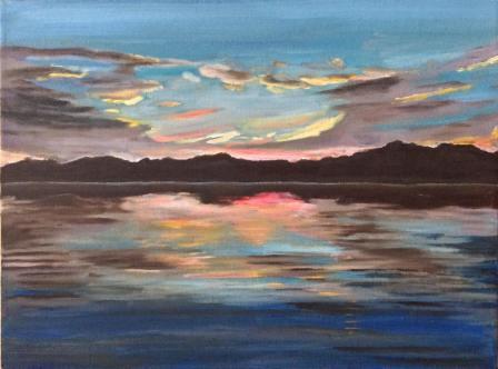 """Sunset at Auntie Vie's (2018) - 12x16"""", oil on canvas"""
