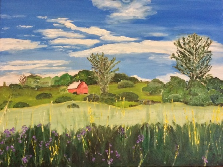 "The View from the Winslow Farm, 4th Line Theatre (2018) - 18x24"", oil on canvas (commissioned)"