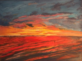 "Lake Nipissing Sunset (2018) - 12x16"", oil on canvas"