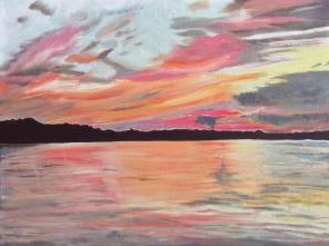 """Trout Lake Sunset (2018) - 12x16"""", oil on canvas"""
