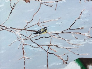 "Chickadee (2019) - 12x16"", oil on canvas"