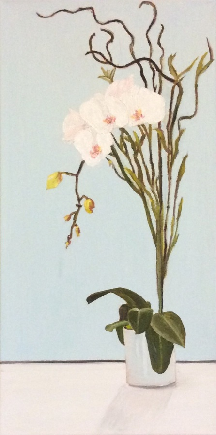 """White Orchid (2019) - 24x12"""", oil on canvas"""