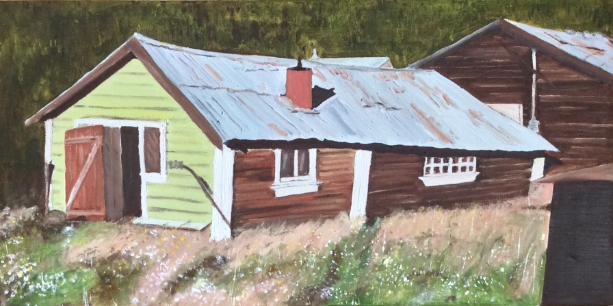 "Monty's Cabin, Dawson City (2019) - 12x24"", oil on canvas"