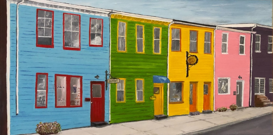 "Halifax Shops (2020) - 10x20"", oil on canvas"