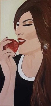 """Temptation (2020) - 20x10"""", oil on canvas (commissioned)"""