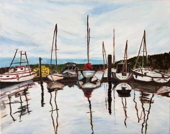 "Ladysmith Harbour (2021) - 16x20"", oil on canvas"