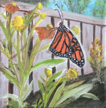 """Monarch Butterfly 2 (2021) - 6x6"""", oil on canvas"""