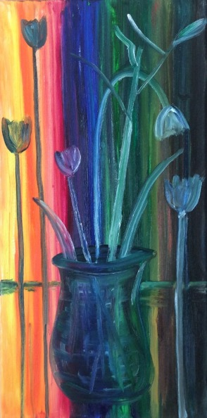 """Teleporting Tulips (2021) - 20x10"""", oil on canvas (sold)"""