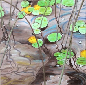 """Reeds, Rocks and Lily Pads (2021) - 20x20"""", oil on canvas (sold)"""